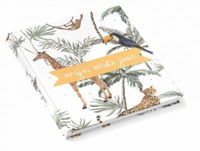 KIDOOZ Invulboek 'Mijn eerste jaar' - Safari - voorkant - invulboekjes.nl