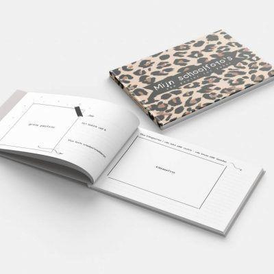 KIDOOZ Invulboek 'Mijn schoolfoto's' - Panterprint - binnenkant - invulboekjes.nl