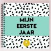 Studio Ins & Outs Babyboek 'Mijn eerste jaar' - Mint - voorkant - invulboekjes.nl