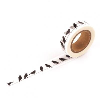 Washi tape 'Vogeltjes' - Zwart wit - invulboekjes.nl
