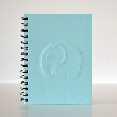 Pretty ECO - 3D Elephant notebook - Blauw - voorkant - invulboekjes.nl