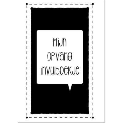 Lettertijd Mijn opvang invulboekje - Zwart wit - voorkant - invulboekjes.nl