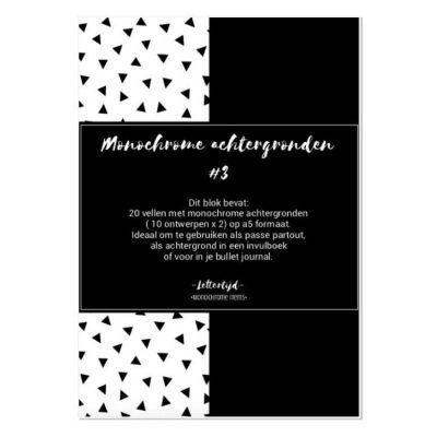 Lettertijd Monochrome achtergronden - Paper pack #3 - voorkant - invulboekjes.nl