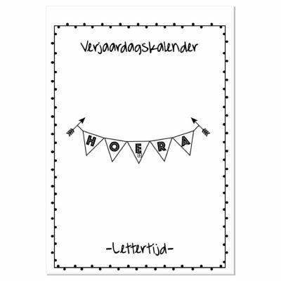 Lettertijd Verjaardagskalender 1 - Zwart-wit - voorkant - invulboekjes.nl