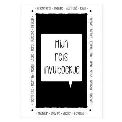 Lettertijd Mijn reis invulboekje - Monochroom - voorkant - invulboekjes.nl