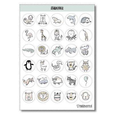 MIEKinvorm Stickervel dieren - 30 stickers - voorkant - invulboekjes.nl