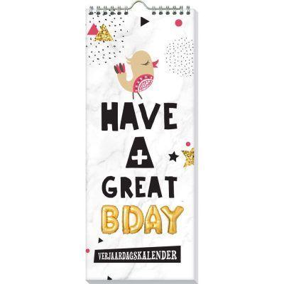 Verjaardagskalender Have a great bday - voorkant - invulboekjes.nl