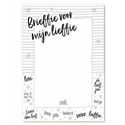 Zoedt Notitieblok 'Brieffie voor mijn lieffie' A6 - voorkant - invulboekjes.nl