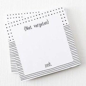 Zoedt Notitieblok 'Niet vergeten' - voorkant - invulboekjes.nl