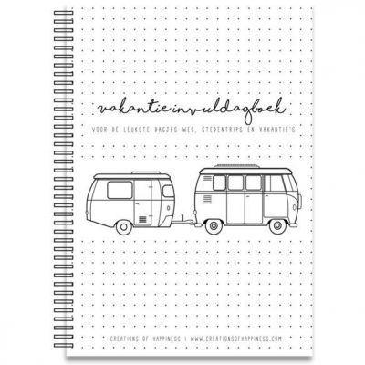 Creations of Happiness - Vakantie invuldagboek - voorkant - invulboekjes.nl