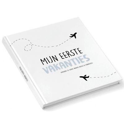 Pink Peach - Mijn eerste vakanties invulboek - Blauw - voorkant - invulboekjes.nl