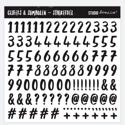 Studio DEMICO Stickervel Cijfers & Symbolen - 101 stickers