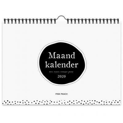 Pink Peach Maandkalender 2020 - A4 - voorkant - invulboekjes.nl