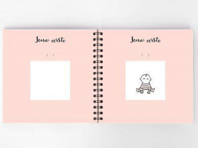 Atelier Pix - Hallo baby - Eerste jaar boek - Roze - 9 - invulboekjes.nl