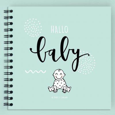 Atelier Pix - Hallo baby - Eerste jaar boek - voorkant mint - invulboekjes.nl