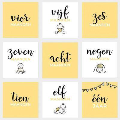 Atelier Pix Mijlpaalkaarten set - Baby eerste jaar - Geel - 2 - invulboekjes.nl