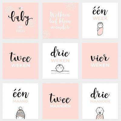 Atelier Pix Mijlpaalkaarten set - Baby eerste jaar - Roze - 1 - invulboekjes.nl