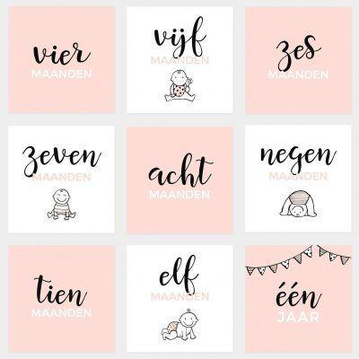 Atelier Pix Mijlpaalkaarten set - Baby eerste jaar - Roze - 2 - invulboekjes.nl