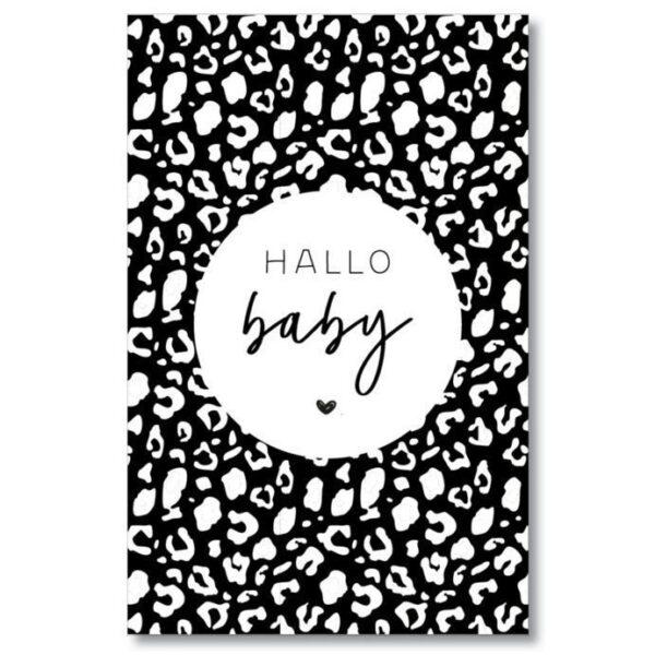 MIEKinvorm Cadeaulabels - Hallo baby - Panterprint - voorkant - invulboekjes.nl