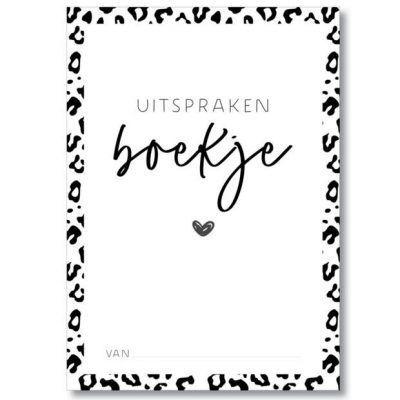 MIEKinvorm Uitsprakenboekje - Panterprint - voorkant - invulboekjes.nl