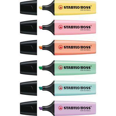 Stabilo Boss Markeerstiften Pastel assorti - 6 stuks - invulboekjes (1)