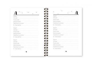 Adresboekje Fyllbooks binnenwerk Adressen A