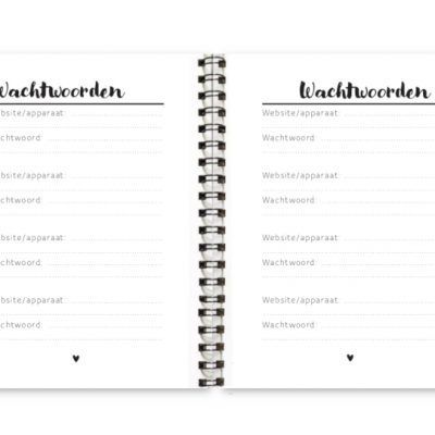 Adresboekje Fyllbooks binnenwerk Wachtwoorden