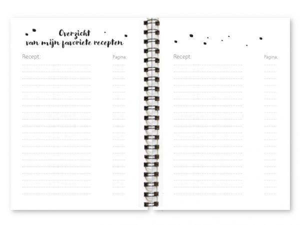 Binnenwerk receptenboekje Fyllbooks Inhoudsopgave
