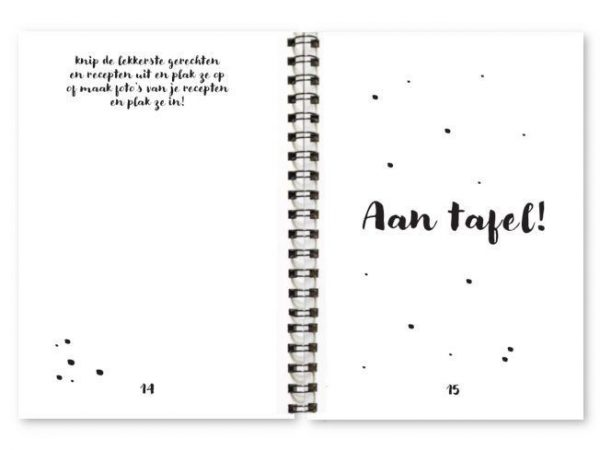 Binnenwerk receptenboekje Fyllbooks inplapagina en quote