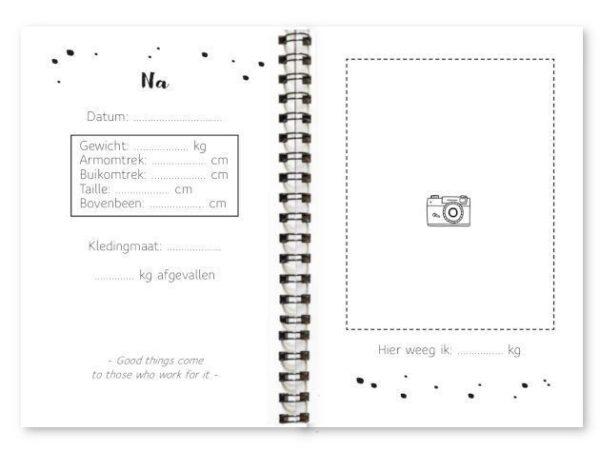 Binnenwerk afslankdagboek fyllbooks invulpagina's na