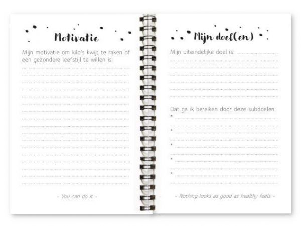 Binnenwerk afslankdagboek fyllbooks motivatie