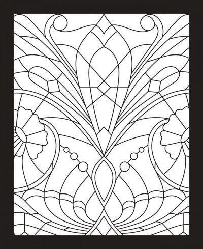 Glas-in-lood kleurboek – Mozaiek Glas-in-lood kleurboek