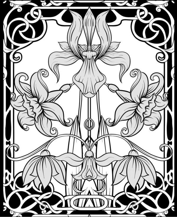 Glitter kleurboek Black edition – Night Flowers Glitter kleurboek