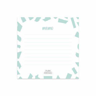 "Studio Stationery Notitieblok Mini ""Memo"" Confetti Mint Collegeblokken"