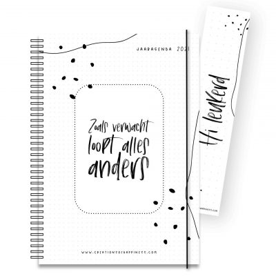 Creations of Happiness – Jaaragenda 2021 zwart-wit Creations of Happiness Agenda