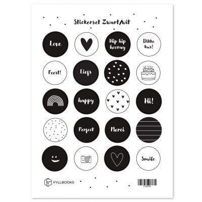 Fyllbooks Stickerset Zwart/wit Scrapbook stickers