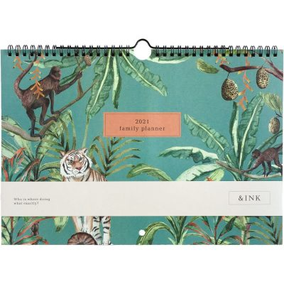 &INK Familieplanner 2021 A4 – Jungle groen Dieren kalenders