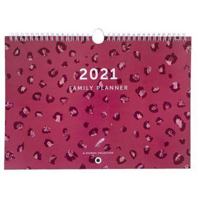 &INK Familieplanner 2021 A4 – Koraalrood luipaard Familie kalender