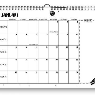 SilliBeads Maandkalender 2021 – A4 Jaarkalender