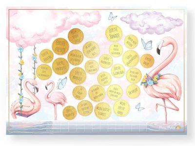 Mini Miles Milestone krasposter A2 – Flamingo pink Babyposters