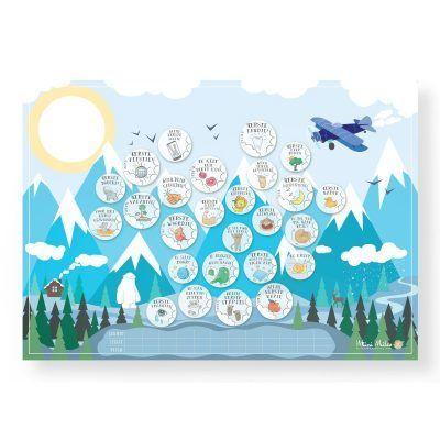 Mini Miles Milestone krasposter A2 – Mountain blue Babyposters