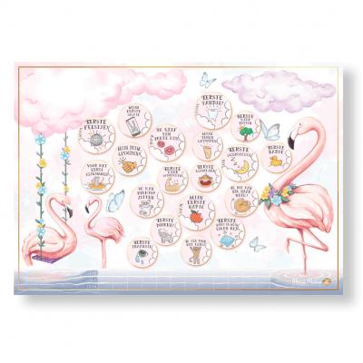 Mini Miles Milestoneposter A4 – Flamingo pink Babyposters