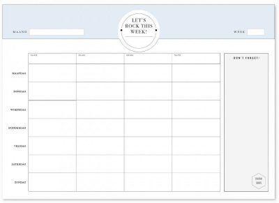Mama Baas Familie weekplanner whiteboard blauw Familie weekplanner