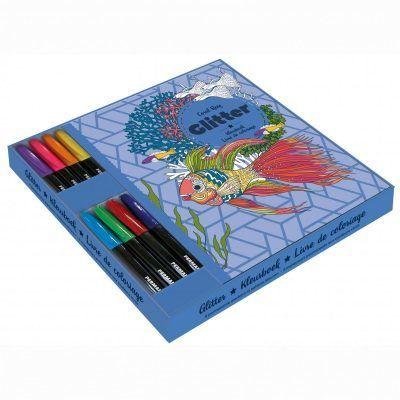 Glitter kleurboek met markers in cadeaubox – Coral Reef Cadeauboek voor broer
