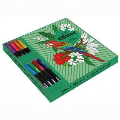 Glitter kleurboek met markers in cadeaubox – Tropical Cadeauboek voor broer
