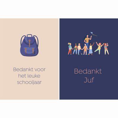 Fabrique a la Carte Wenskaarten Set – Bedankt Juf – 14 Stuks Bedankkaarten
