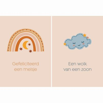 Fabrique a la Carte Wenskaarten Set Geboorte – Geboortekaarten – 14 Stuks Felicitatiekaarten