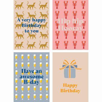 Fabrique a la Carte Wenskaarten – Verjaardagskaart set – 16 stuks Felicitatiekaarten