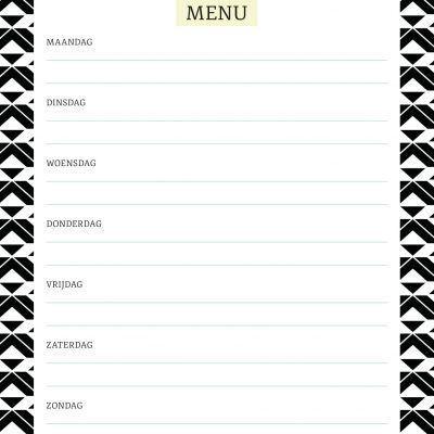 Menuplanner Black & White – A5 Boodschappen planner