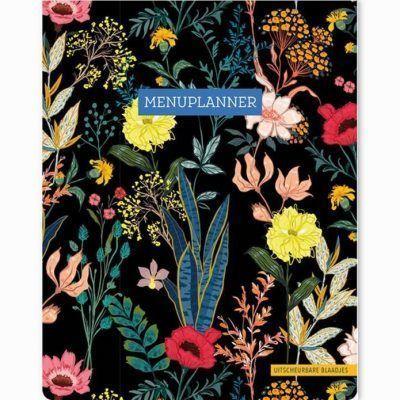 Menuplanner Floral Black – A5 Boodschappen planner